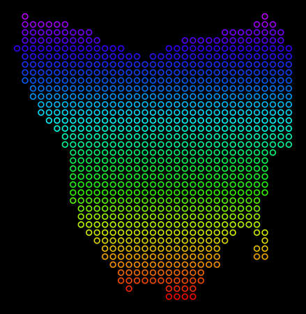 Colored Spectral Tasmania Island Map. Vector geographic map in bright rainbow colors with vertical gradient on a black background.