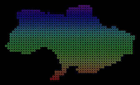 Bright Spectral Ukraine Map.