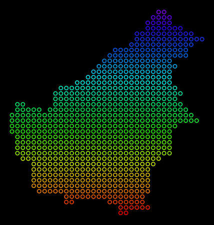 Bright Rainbow Borneo Island Map. Raster geographic map in bright spectrum colors with vertical gradient on a black background.