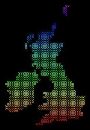 Bright Spectrum Great Britain And Ireland Map. Raster geographic map in bright rainbow colors with vertical gradient on a black background.