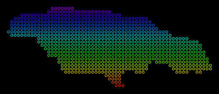 Bright Rainbow Jamaica Map. Raster geographic map in bright spectrum colors with vertical gradient on a black background. Color raster composition of Jamaica Map created of empty circles. Stock Photo