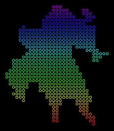 Colored Spectral Peloponnese Half-Island Map. Raster geographic map in bright rainbow colors with vertical gradient on a black background. Stock Photo