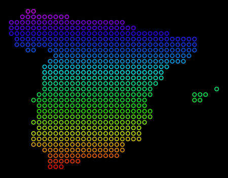 Bright Spectrum Spain Map. Raster geographic map in bright spectrum colors with vertical gradient on a black background. Bright raster mosaic of Spain Map created of empty circles.