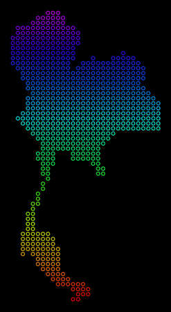 Bright Spectral Thailand Map. Raster geographic map in bright rainbow colors with vertical gradient on a black background. Bright raster composition of Thailand Map organized of round dots.