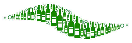 Wave Shape composition of wine bottles and round bubbles in variable sizes and green colors. Raster objects are composed into wave shape mosaic. Alcoholic design concept. Stock Photo