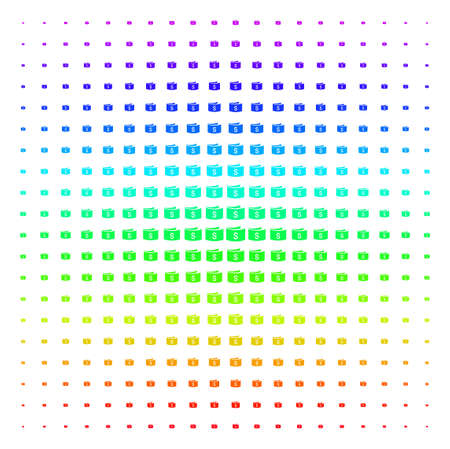 Banknotes icon rainbow colored halftone pattern. Vector items arranged into halftone grid with vertical spectrum gradient. Designed for backgrounds, covers and abstract effects. Stock Photo