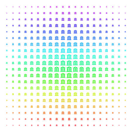 Bank Building icon rainbow colored halftone pattern. Vector symbols organized into halftone grid with vertical rainbow colors gradient. Designed for backgrounds, covers and abstraction compositions. Stock Photo