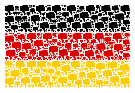 Germany State Flag concept composed of thumb down icons. Raster thumb down icons are united into geometric German flag composition. Stock Photo