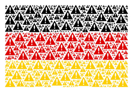 German Flag mosaic combined of warning pictograms. Raster warning design elements are combined into geometric German flag illustration.