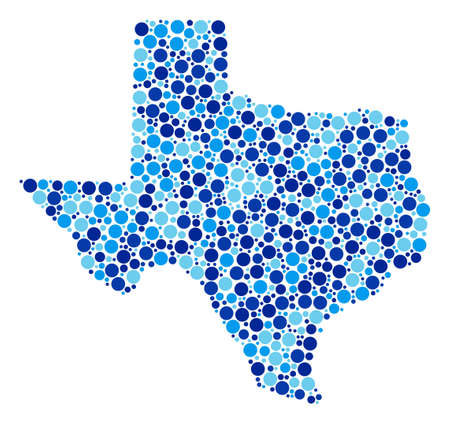 Texas Map composition of round spots in various sizes and blue shades. Scattered dots are organized into Texas Map illustration. Raster geographical blue map design concept.