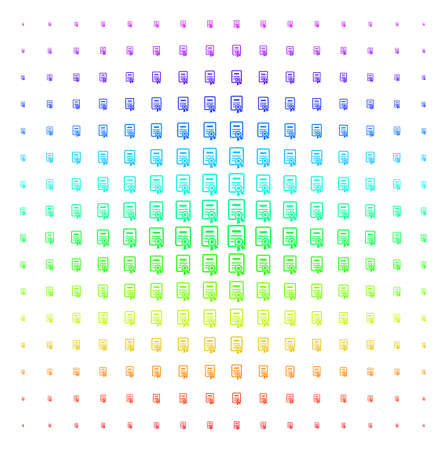Certificate icon rainbow colored halftone pattern. Vector certificate shapes organized into halftone grid with vertical rainbow colors gradient. Designed for backgrounds