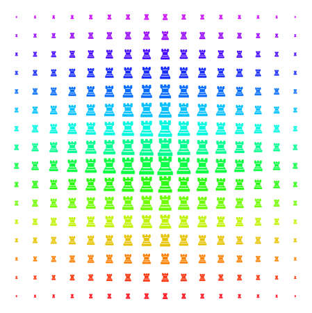 Chess Tower icon rainbow colored halftone pattern. Vector chess tower items arranged into halftone grid with vertical spectral gradient. Designed for backgrounds, covers and abstraction effects.