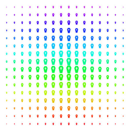Coffin icon spectrum halftone pattern. Vector coffin symbols arranged into halftone grid with vertical spectral gradient. Designed for backgrounds, covers and abstract compositions.