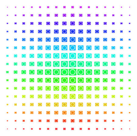 Condom Package icon spectral halftone pattern. Vector condom package shapes arranged into halftone grid with vertical spectrum gradient. Designed for backgrounds, covers and abstraction compositions. Ilustrace