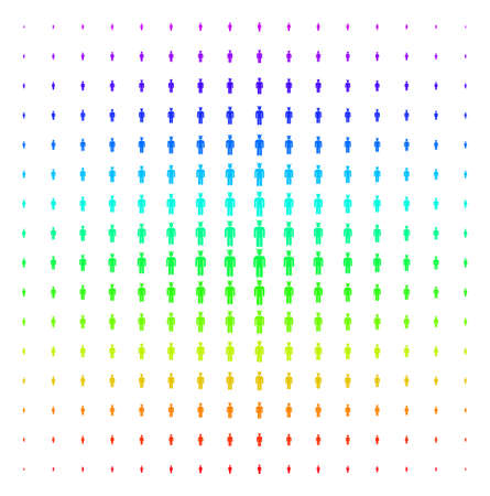 Daemon icon rainbow colored halftone pattern. Vector daemon objects arranged into halftone grid with vertical spectrum gradient. Designed for backgrounds, covers and abstract effects.