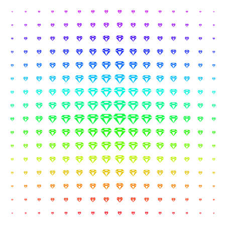 Diamond icon spectrum halftone pattern. Vector diamond objects organized into halftone grid with vertical spectrum gradient. Designed for backgrounds, covers and abstract effects.