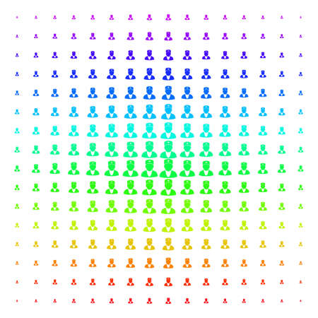 Doctor icon spectral halftone pattern. Vector doctor symbols arranged into halftone grid with vertical rainbow colors gradient. Designed for backgrounds, covers and abstraction effects.
