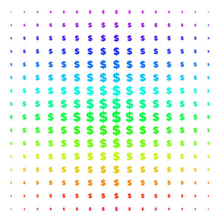 Dollar icon rainbow colored halftone pattern. Vector dollar symbols organized into halftone grid with vertical rainbow colors gradient. Designed for backgrounds, covers and abstraction effects. Ilustração