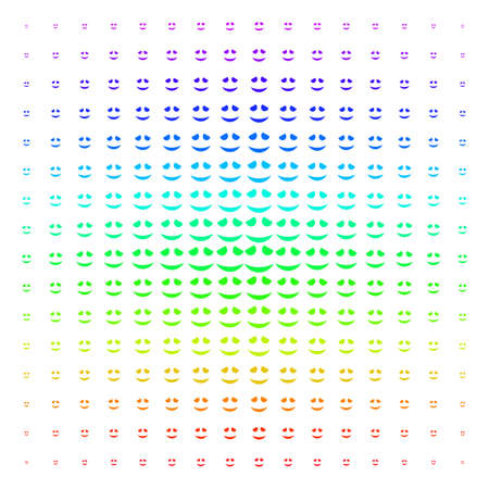 Embarrassed Smile icon rainbow colored halftone pattern. Vector embarrassed smile pictograms organized into halftone grid with vertical spectrum gradient. Designed for backgrounds,