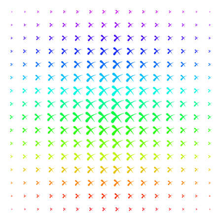 Erase icon spectrum halftone pattern. Vector erase items arranged into halftone grid with vertical rainbow colors gradient. Designed for backgrounds, covers and abstract compositions. Illustration