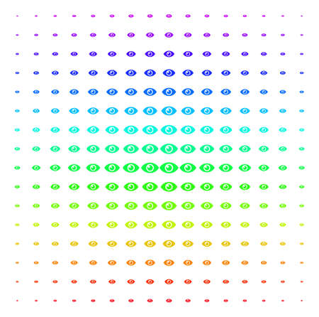 Eye icon spectrum halftone pattern. Vector eye items arranged into halftone grid with vertical spectral gradient. Designed for backgrounds, covers and abstraction compositions.