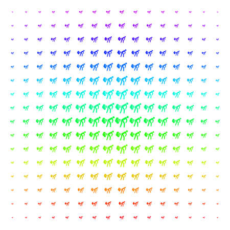 Fart Gases icon rainbow colored halftone pattern. Vector fart gases pictograms arranged into halftone grid with vertical spectrum gradient. Designed for backgrounds, covers and abstraction concepts.