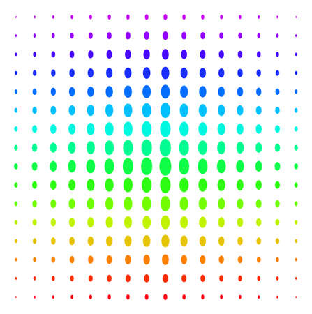 Filled Ellipse icon spectral halftone pattern. Vector filled ellipse objects arranged into halftone grid with vertical rainbow colors gradient. Designed for backgrounds