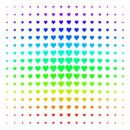 Hearts Suit icon rainbow colored halftone pattern. Vector hearts suit objects arranged into halftone grid with vertical rainbow colors gradient. Designed for backgrounds.