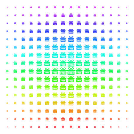 Free Gift icon rainbow colored halftone pattern. Vector free gift symbols organized into halftone grid with vertical spectrum gradient. Designed for backgrounds, covers and abstract effects.