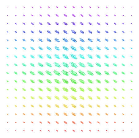 Galaxy icon spectrum halftone pattern. Vector galaxy pictograms arranged into halftone grid with vertical spectral gradient. Designed for backgrounds, covers and abstraction effects.