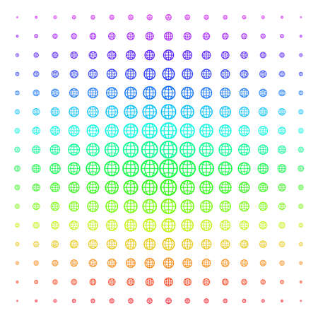 Globe icon spectrum halftone pattern. Vector globe pictograms arranged into halftone grid with vertical rainbow colors gradient. Designed for backgrounds, covers and abstraction concepts.