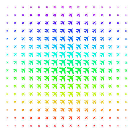 Jet Plane icon spectrum halftone pattern. Vector jet plane objects organized into halftone grid with vertical rainbow colors gradient. Designed for backgrounds, covers and abstract effects.