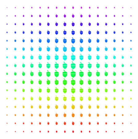 Oak Acorn icon spectral halftone pattern. Vector oak acorn symbols arranged into halftone grid with vertical rainbow colors gradient. Designed for backgrounds, covers and abstract compositions.