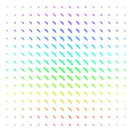Satellite icon rainbow colored halftone pattern. Vector satellite symbols arranged into halftone grid with vertical spectral gradient. Designed for backgrounds, covers and abstract effects. Banco de Imagens - 100453490