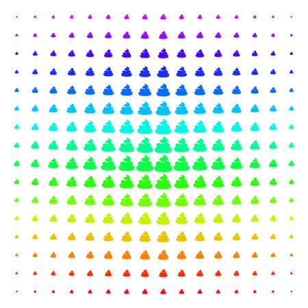 Shit icon spectrum halftone pattern. Vector shit shapes organized into halftone grid with vertical spectral gradient. Designed for backgrounds, covers and abstract concepts.