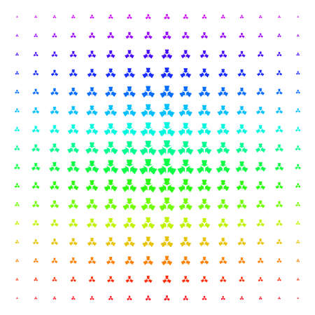 Shrink Arrows icon spectral halftone pattern. Vector shrink arrows symbols arranged into halftone grid with vertical rainbow colors gradient. Designed for backgrounds, Ilustração