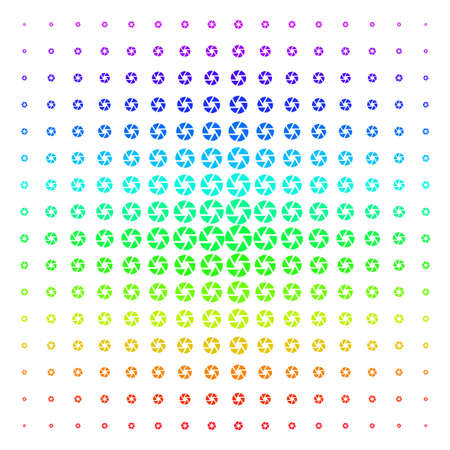 Shutter icon rainbow colored halftone pattern. Vector shutter shapes arranged into halftone grid with vertical rainbow colors gradient. Designed for backgrounds, covers and abstraction effects. Illustration