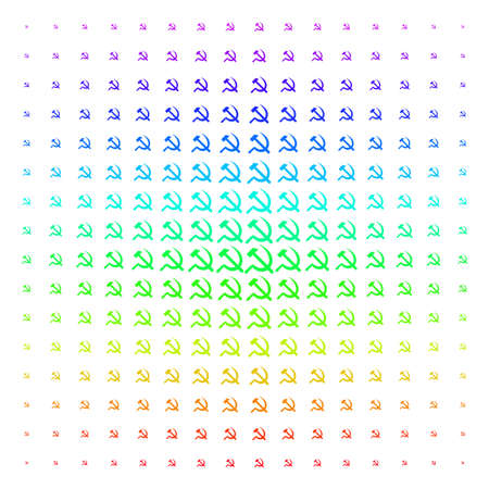 Sickle And Hammer icon rainbow colored halftone pattern. Vector sickle and hammer symbols organized into halftone grid with vertical spectral gradient. Designed for backgrounds,