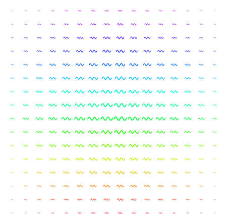 Sinusoid Wave icon rainbow colored halftone pattern. Vector sinusoid wave symbols organized into halftone grid with vertical spectrum gradient. Designed for backgrounds,