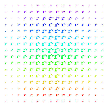 Robotics Manipulator icon spectral halftone pattern. Vector robotics manipulator pictograms arranged into halftone grid with vertical rainbow colors gradient. Designed for backgrounds, Illustration