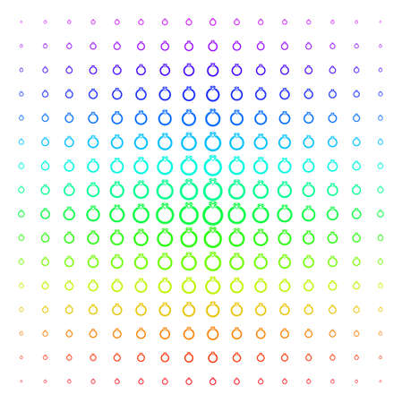 Ruby Ring icon spectral halftone pattern. Vector ruby ring objects arranged into halftone grid with vertical spectrum gradient. Designed for backgrounds, covers and abstract effects. Reklamní fotografie - 100453664