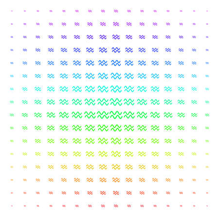 Sinusoid Waves icon rainbow colored halftone pattern. Vector sinusoid waves pictograms arranged into halftone grid with vertical rainbow colors gradient. Designed for backgrounds,