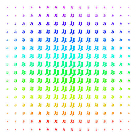 Socks icon rainbow colored halftone pattern. Vector socks shapes arranged into halftone grid with vertical spectral gradient. Designed for backgrounds, covers and abstract compositions.