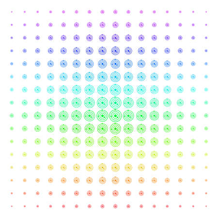 Solar System icon spectrum halftone pattern. Vector solar system objects arranged into halftone grid with vertical spectrum gradient. Designed for backgrounds, covers and abstract effects. Ilustração