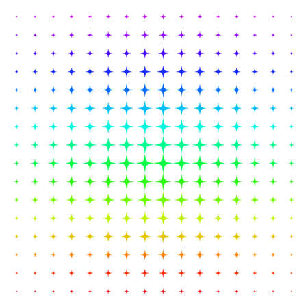 Space Star icon rainbow colored halftone pattern. Vector space star pictograms organized into halftone grid with vertical rainbow colors gradient. Designed for backgrounds, Illustration