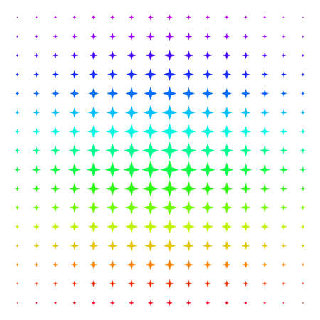 Space Star icon rainbow colored halftone pattern. Vector space star pictograms arranged into halftone grid with vertical rainbow colors gradient. Designed for backgrounds,