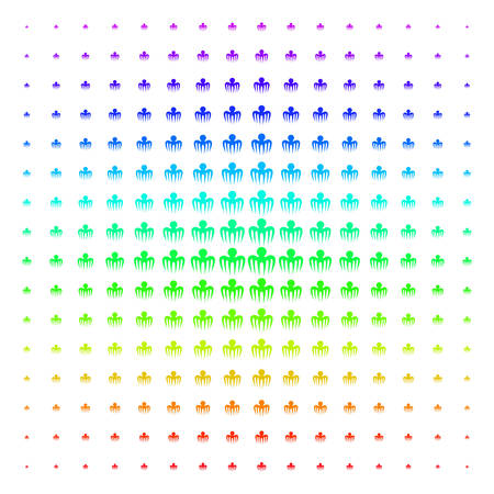 Spectre Octopus icon spectral halftone pattern. Vector spectre octopus symbols arranged into halftone grid with vertical spectrum gradient. Designed for backgrounds, covers and abstract effects. Illustration