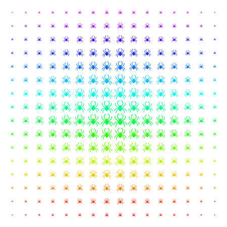 Spider icon rainbow colored halftone pattern. Vector spider symbols arranged into halftone grid with vertical spectral gradient. Designed for backgrounds, covers and abstract concepts.