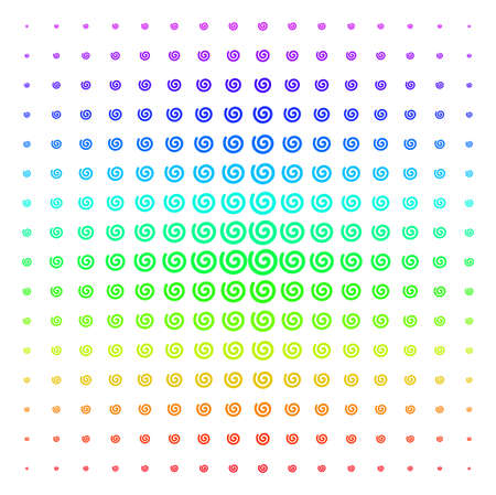 Spiral icon rainbow colored halftone pattern. Vector spiral items organized into halftone grid with vertical spectrum gradient. Designed for backgrounds, covers and abstraction effects. Illustration