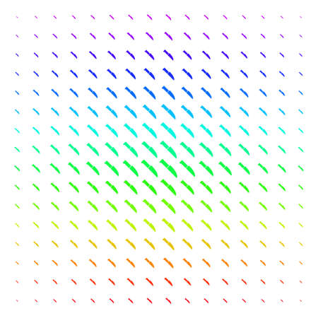 Surgery Knife icon rainbow colored halftone pattern. Vector surgery knife objects organized into halftone grid with vertical spectral gradient. Designed for backgrounds, covers and abstract concepts. Illustration